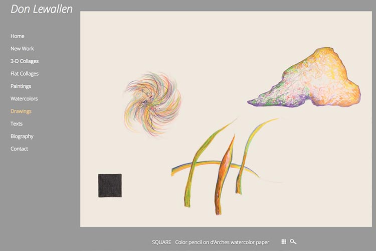 web design for an American abstract artist - drawings single work page
