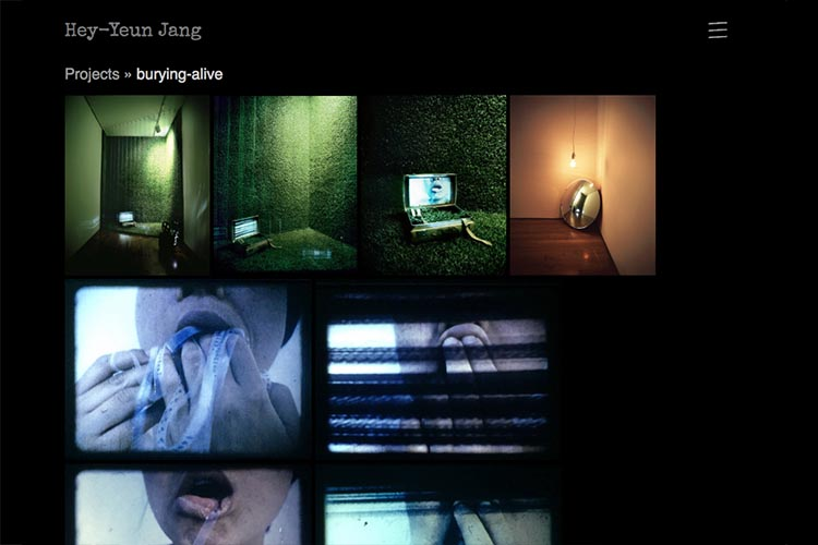 web design for sculptor and installation artist - burying alive project