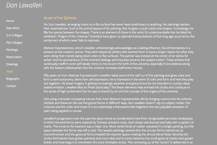 web design for an American abstract artist - reviews page