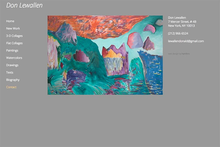 web design for an American abstract artist - contact page