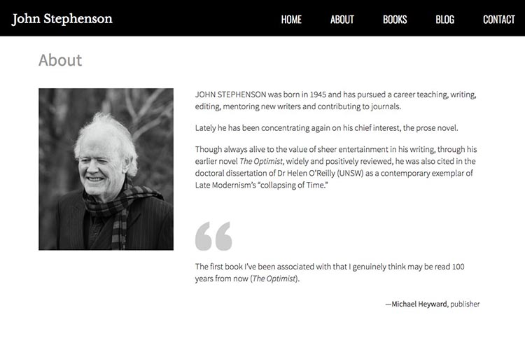 web design for a writer - bio page