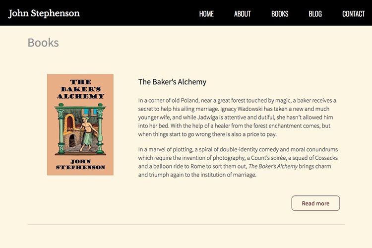 web design for an author - novels page