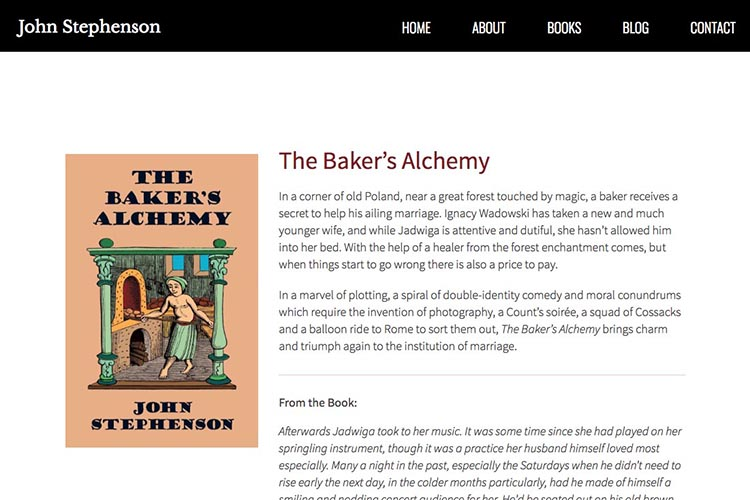 web design for an author - second novel page