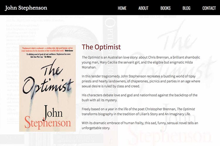 web design for an author - first novel page
