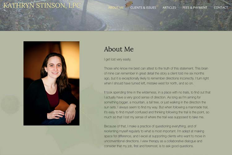 web design for a therapist - about the therapist page