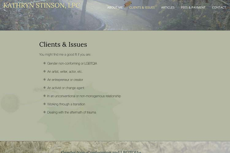 web design for a therapist - client issues index page
