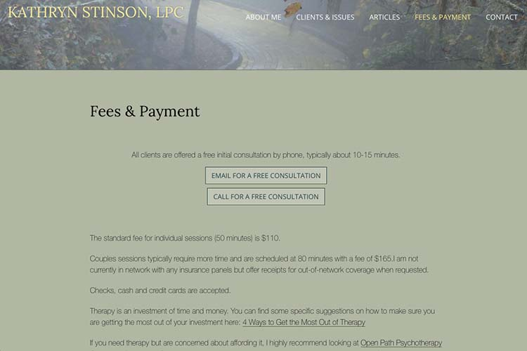 web design for a therapist - fees and payments page