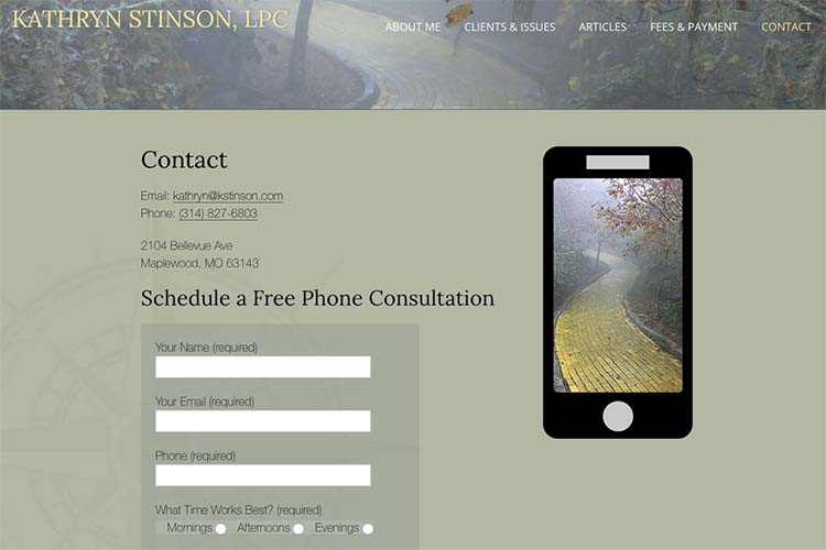 web design for a therapist - contact page