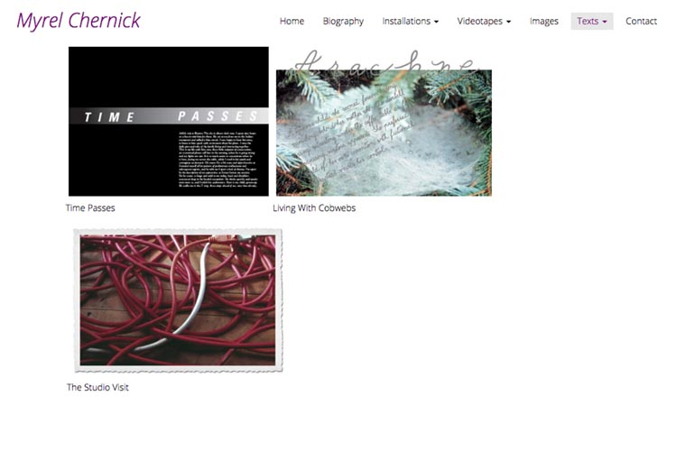 web design for a New York artist - texts index page