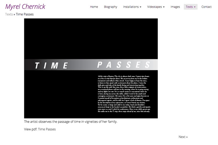 web design for a New York artist - texts single page