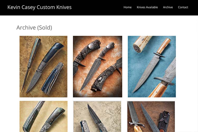 web design for a custom knife-maker - knives archive page