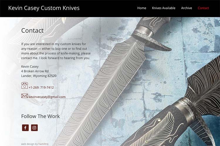 web design for a custom knife-maker - contact page