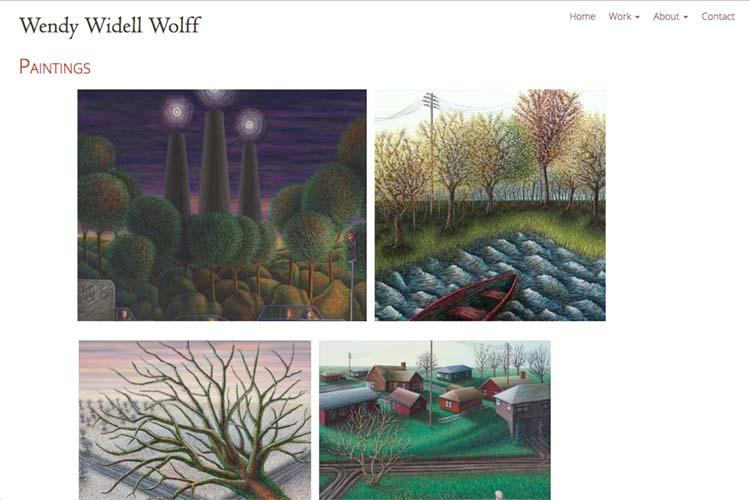 web design for an artist - artwork thumbnails page