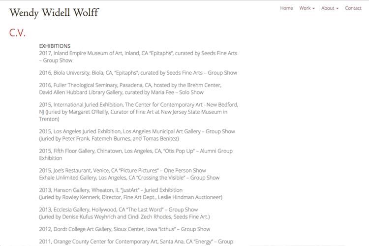 web design for an artist - bio page