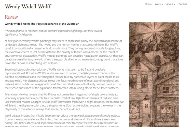 web design for an artist - review page