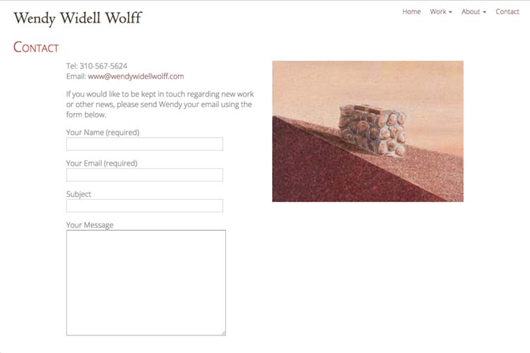 web design for an artist - contact page