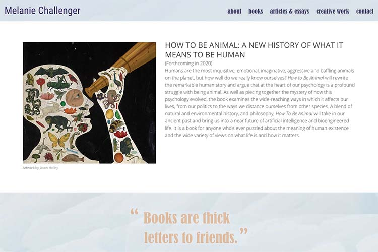 web design for an author - homepage featured content area