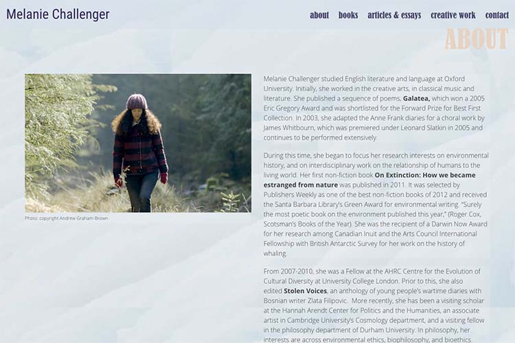 web design for an author - about page