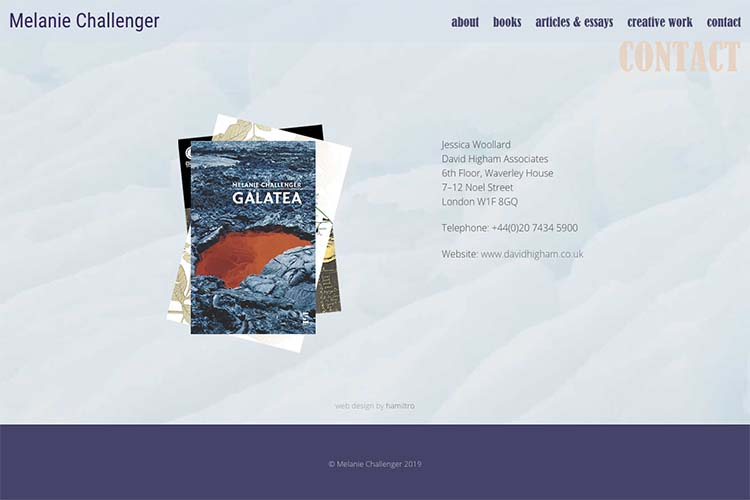 web design for an author - contact page
