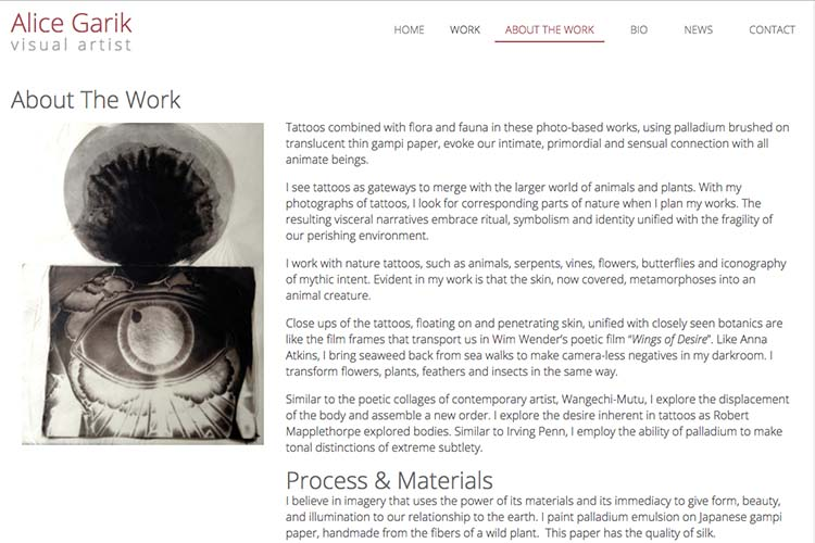 web design for a visual artist working with tattoo imagery - page about the work