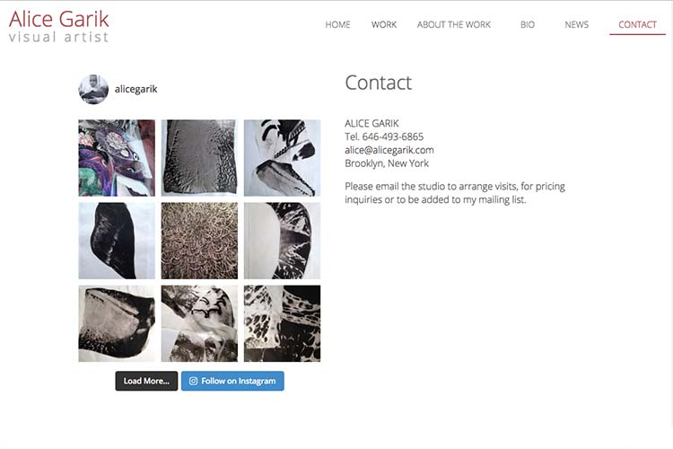 web design for a visual artist working with tattoo imagery contact and instagram page