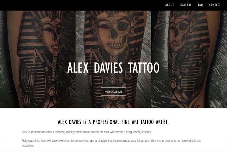 web design for a black and grey realism tattoo artist