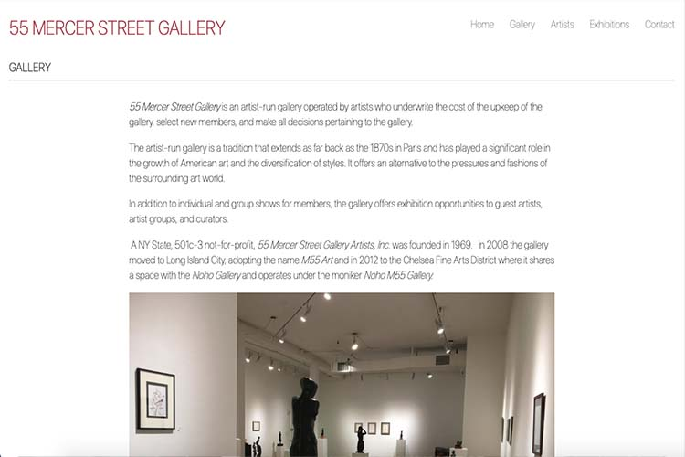 web design for an art gallery in New York - gallery page