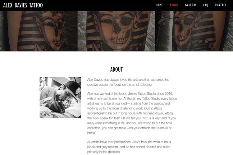 web design for a black and grey realism tattoo artist - about page