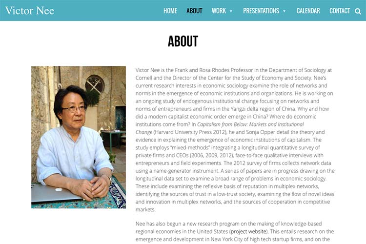 web design for an author, professor and speaker - about page