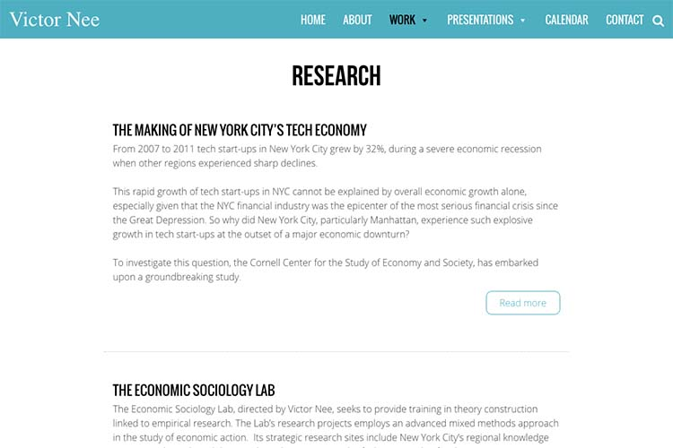 web design for an author, professor and speaker - research page