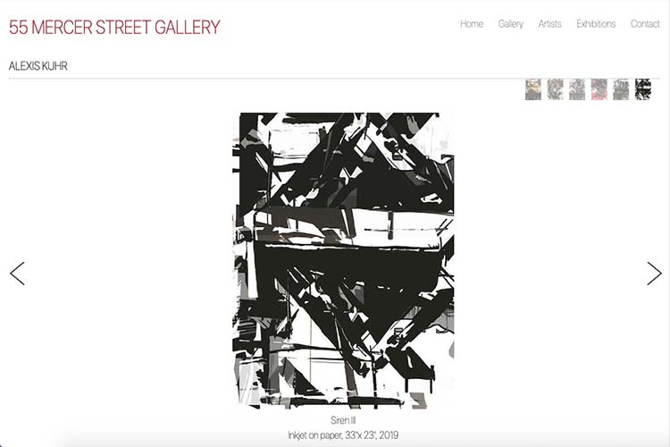 web design for an art gallery in New York - artist page