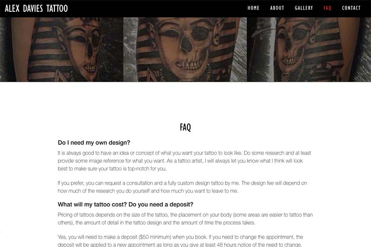 web design for a black and grey realism tattoo artist - faq page