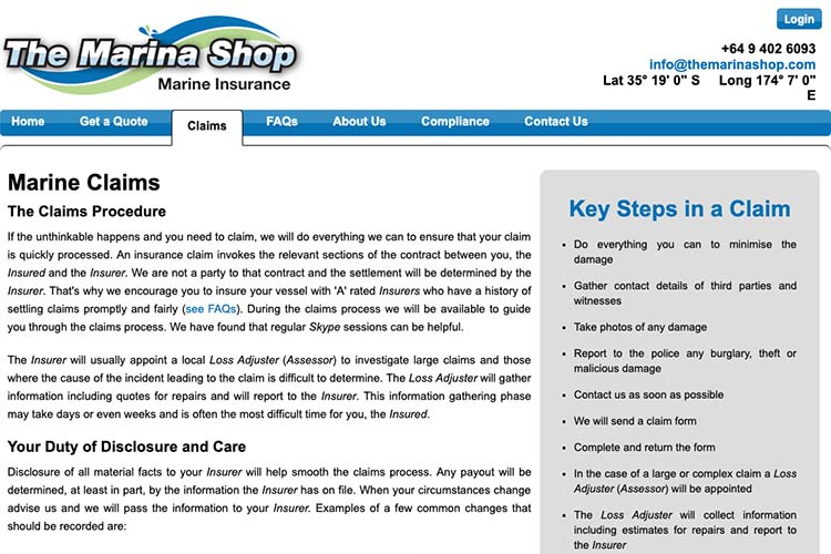 responsive web design for an insurance broker - claims page