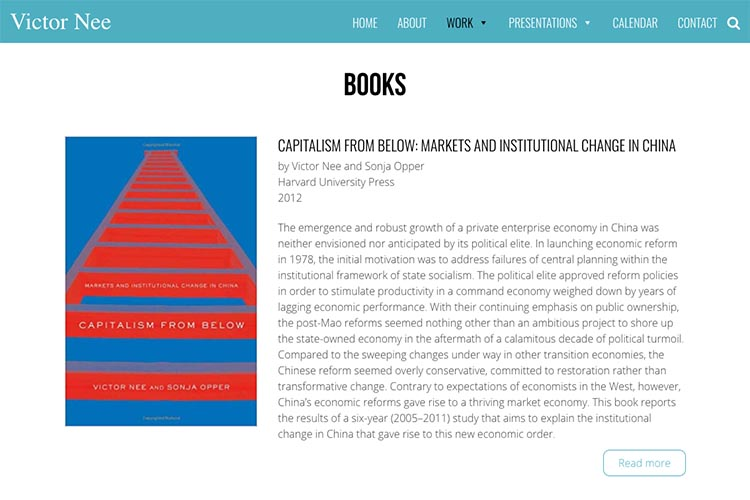 web design for an author, professor and speaker - books page