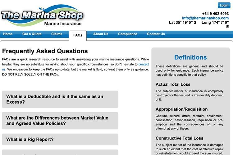 responsive web design for an insurance broker - faq page