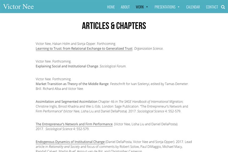 web design for an author, professor and speaker - articles page