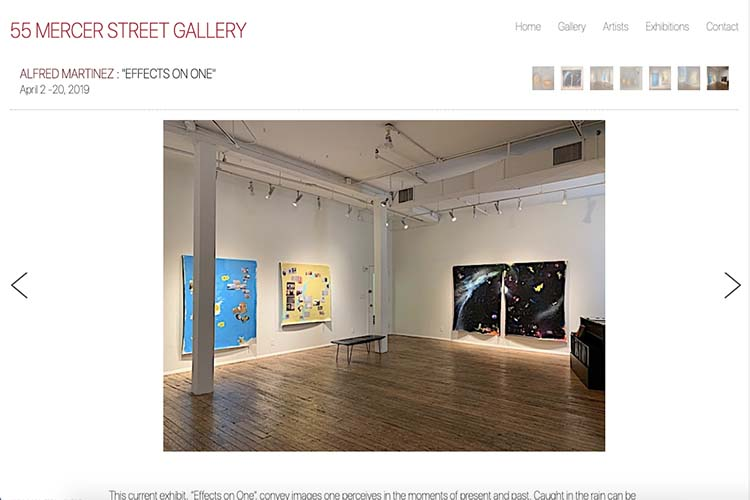 web design for an art gallery in New York - single exhibition