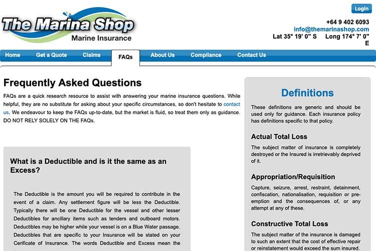 responsive web design for an insurance broker - faq single page