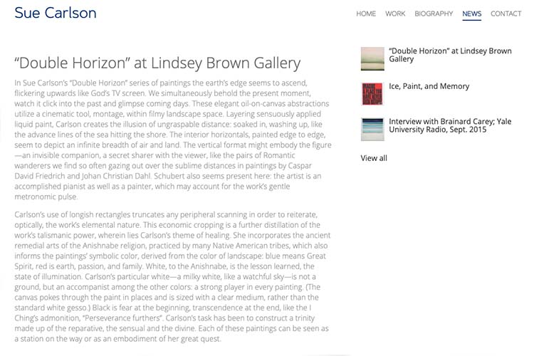 web design for an artist - news article