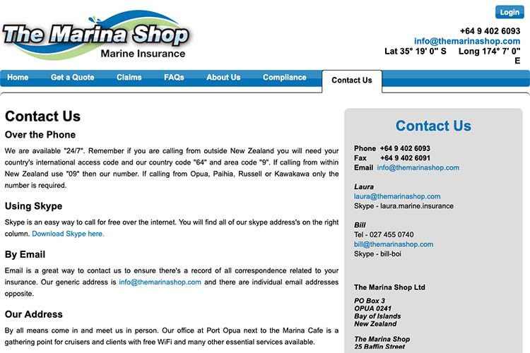 responsive web design for an insurance broker - contact page