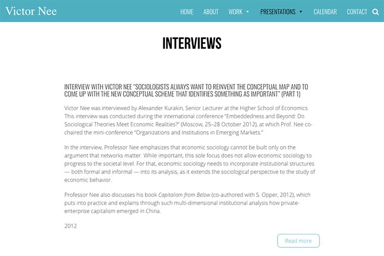 web design for an author, professor and speaker - interviews page
