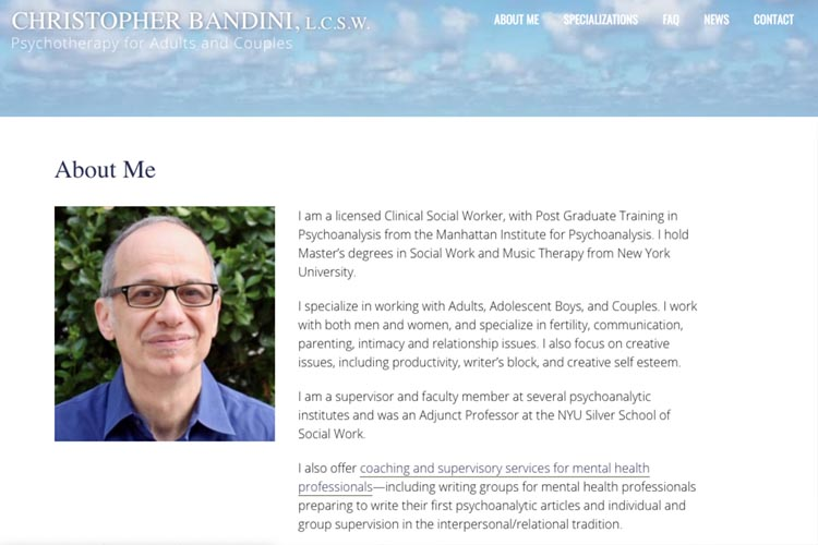 web design for a psychotherapist - about page