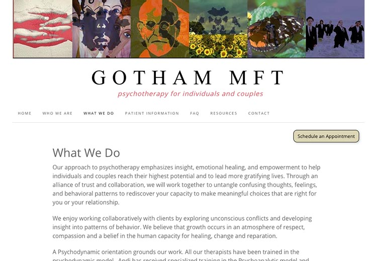 creative web design for therapists - what we do page