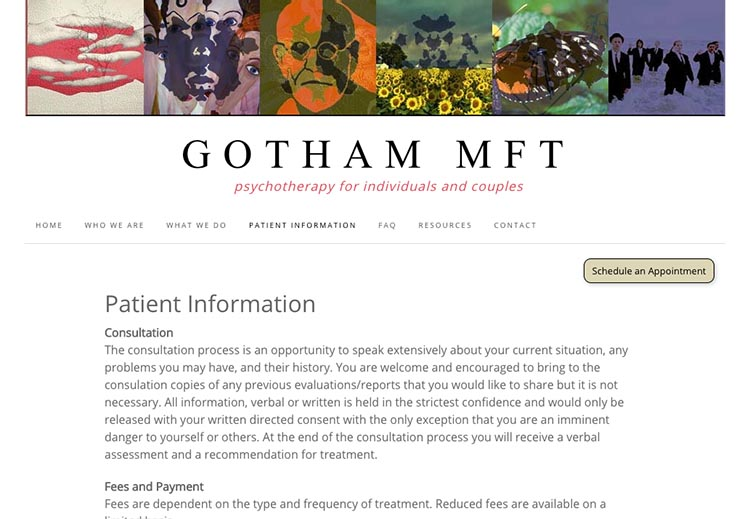 creative web design for therapists - patient information page
