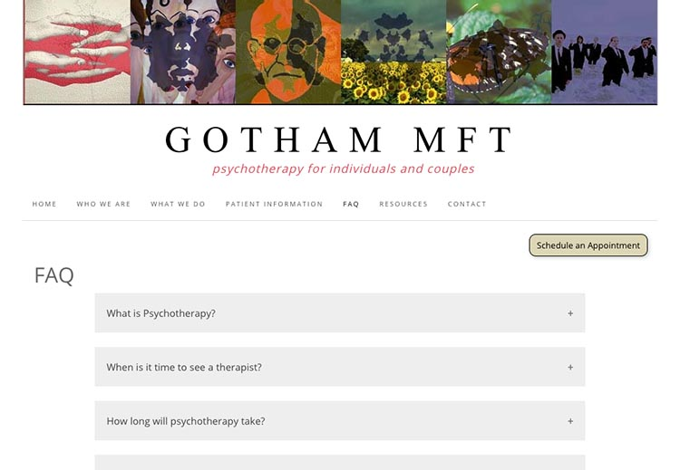 creative web design for therapists - faq page