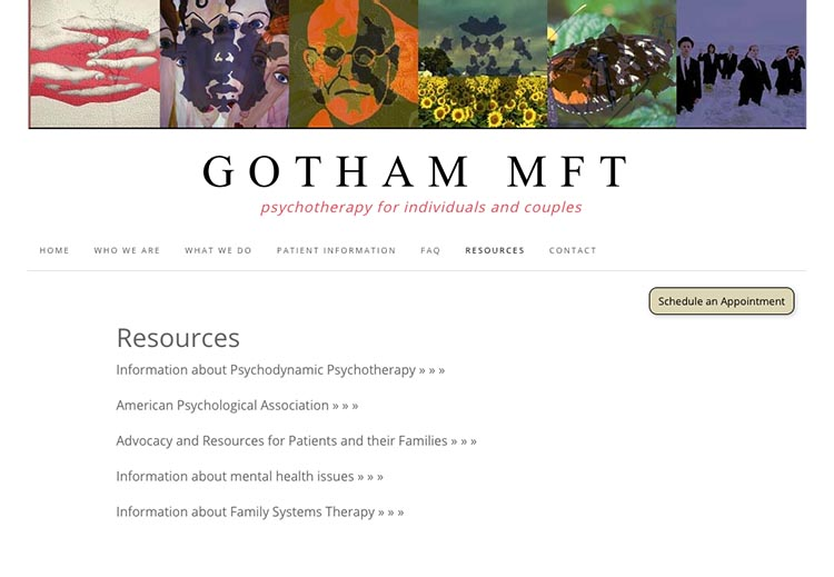 creative web design for therapists - resources page