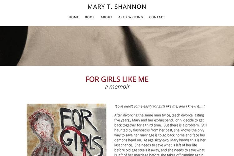 web design for an author - book page