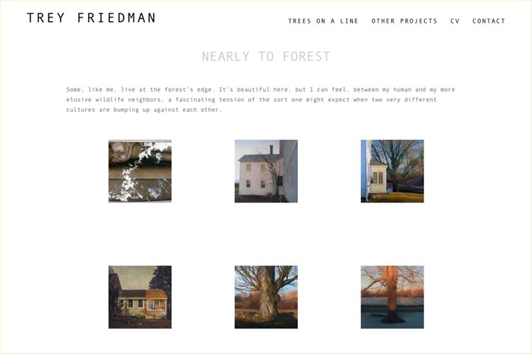 Web design for an artist - nearly to forest index page