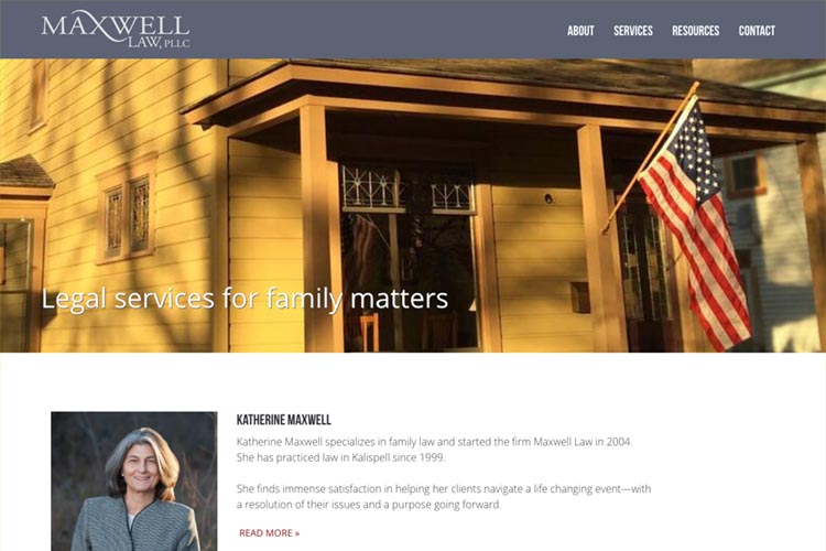 web design for a family law firm in Montana - home page