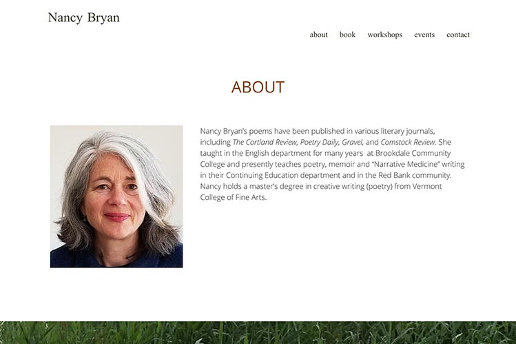 web design for a writer and teacher - bio page